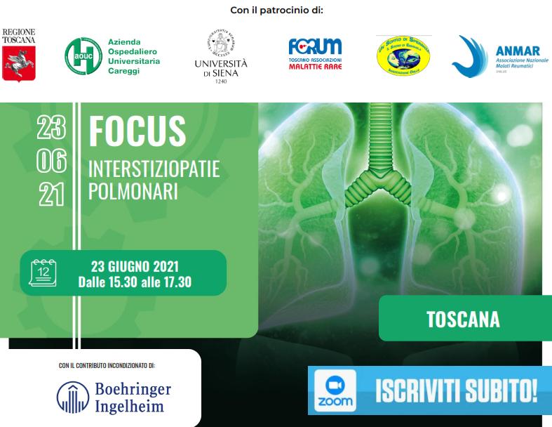 "Motore Sanità – Webinar ""Focus Interstiziopatie polmonari – Regione Toscana"""